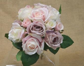 No. FQ325  Real Soft Rose  Bouquet - Artificial Flower Bouquet, Artificial Flower, Wedding Bouquet, Bridesmaid Bouquet.