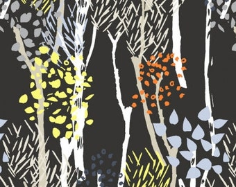 Woodland Trees Fabric, Wildwood by Dear Stella, Stella 559 Ebony Midnight Forest, Woodland Quilt Fabric, Cotton