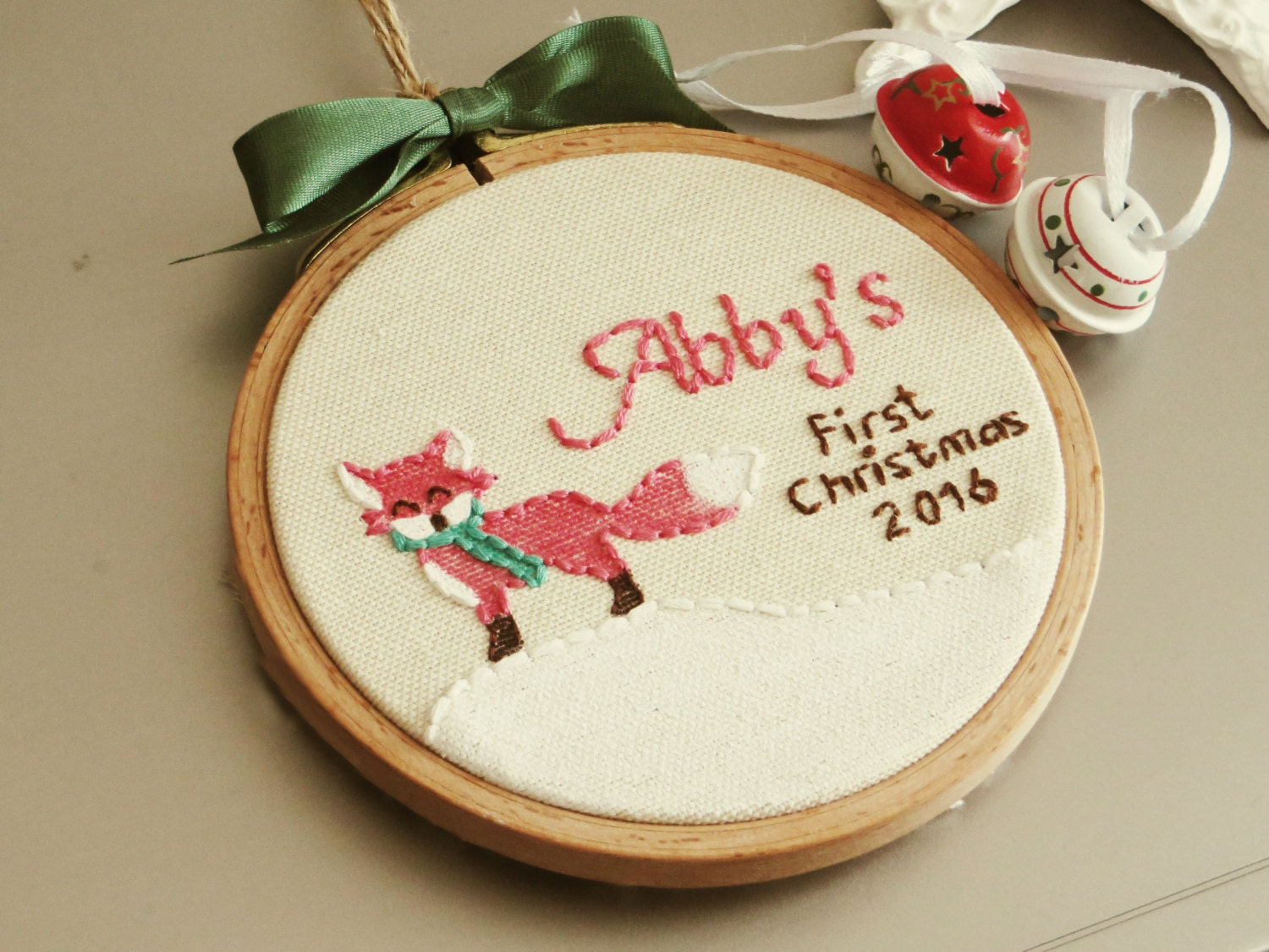 Blank ornaments to personalize - Pink Fox Ornament Baby S First Christmas Embroidery Personalized Tree Ornament Christmas Hoop Art