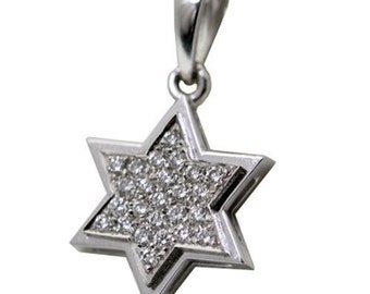 Diamond-studded Classic White Gold Star of David Pendant in 18K Gold