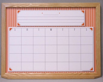 burnt orange herringbone monthly whiteboard calendar framed dry erase wall calendar custom calendar dry erase board solid wood frame