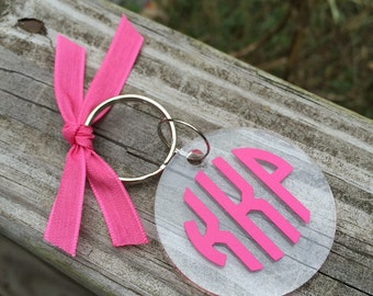 Monogram Key Chain / KeyChain~ 2 inch~Clear Acrylic ~ Keychain   ~ Personalized Keychain ~ Key Fob ~ Keys ~ ON SALE