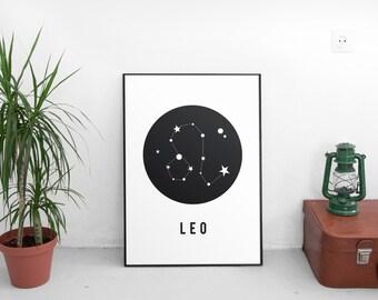 Zodiac Gift Leo,Leo Art Print, Constellation Print, Astrological Sign, Astronomy Decor, Constellation Map, Leo Zodiac Print, Astrology Gifts