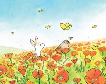 Flower Postcard - Greeting card - Orange Poppyfield, Rabbits & Butterflies -
