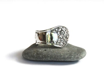 spoon ring, apple blossom ring,  1906 vintage ring, demitasse apple blossom pattern ring