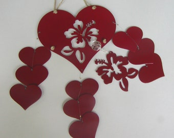 Metal Flower Heart with Cascading Hearts Sun Catcher Wind Chime (Windchime)