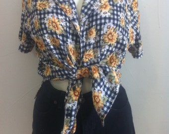 vintage sunflower blouse size:medium