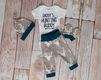 Newborn Coming Home Baby Deer Antlers/Horns Bodysuit, Hat, Scratch Mittens Set + Daddy's Hunting Buddy Bodysuit