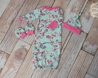 Baby Gown Flowers Pink Blue and Japanese Cherry Blossom tree For Take Home or Hospital Outfit