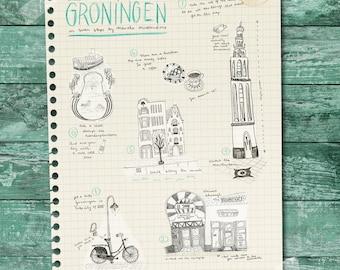 illustrated map of Groningen, Netherlands