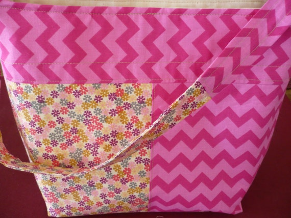 Chevron Pink & Floral Bucket-Style Purse Diaper Bag