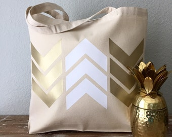 Gold and White Arrow Chevron Tote Bag  - beach bag, purse or bridesmaids gift