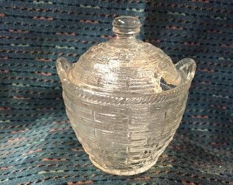 Pressed Glass Condiment Jar w/ Cover, Basket Weave Pattern, Small Condiment Jar with Lid, Condiment Jar, Sugar Jar