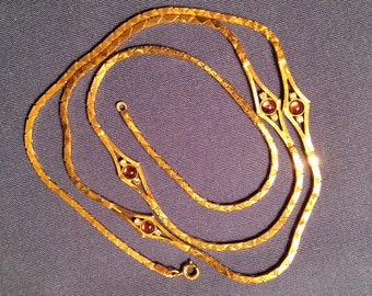 """Gold Tone Chain with Amethyst  Colored Stones and Rhinestones,  28"""" Gold Tone Necklace Chain"""