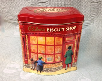Cadbury Biscuit Shop Tin,  Cadbury Tin, Biscuit Tin, Cookie Tin, Storage Tin,  Decorative Tin, Tin, Holiday Tin