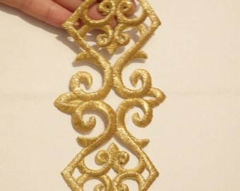 large gold patch applique motif iron on sew on embroidered trimming UK 20 x 6 cm