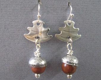 Oak leaf and acorn silver earrings, silver leaf earrings, handmade silver earrings, oak leaf earrings, acorn earrings, birthday present