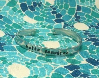 Hello Sunshine  Hand stamped 1/4 inch metal cuff