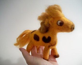 Needle Felted Pony, Soft Sculpture Horse, Handmade Figure, FeltWithAHeart