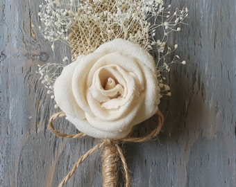 Rustic Boutonniere Groom Boutonniere Groomsman Boutonniere Dried Flowers Mens Wedding Fabric Boutonniere  Wedding  Ivory Boutonniere