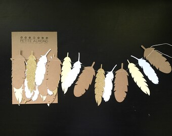 Feather Garland // Gold Feather Garland // Neautral Bunting // Paper Garland // Feather Banner