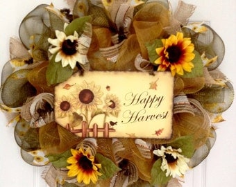 Happy Harvest Sunflower Autumn Wreath Handmade Deco Mesh