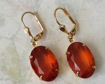 Topaz Rhinestone Earrings, Topaz Crystal Earrings, Everyday Earrings, Dangle and Drop Earrings, Gift for Her, Victorian Earrings