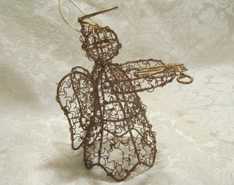 Brass Wired Christmas Angel playing the Harp