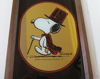 Snoopy Mirror - in Top Hat - Cape and Cane - made in England -  9 1/4'' x 13 1/4''