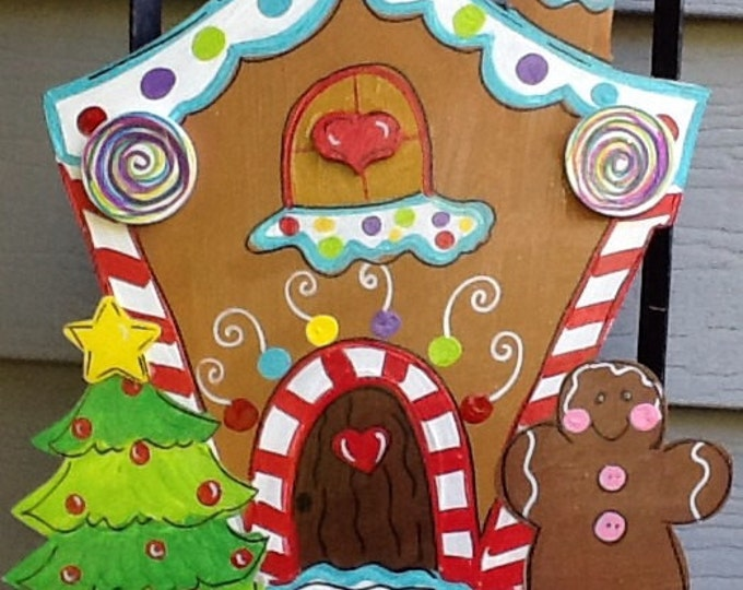 Gingerbread house sign, gingerbread door sign, gingerbread door hanger, Santa door hanger, Santa sign, hansel and gretel sign, chistmas sign