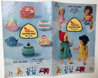 Vintage 1960s knitting booklet Patons - dolls clothes tea cosies & toys