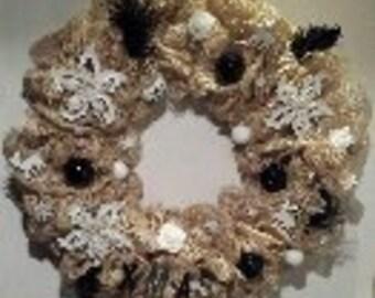 Christmas Wreath Black & White