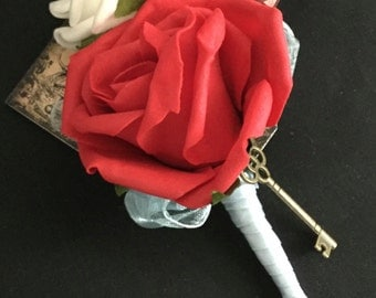 Red Alice In Wonderland Buttonhole, Alice in Wonderland Wedding, Double buttonhole, white and red corsage, red and white  buttonhole