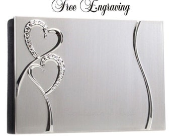 Personalized Wedding Photo Album Crystal Hearts Silver Engraved Free