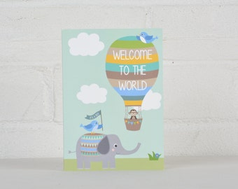 Welcome to the World, New Baby Card, Card for a Baby Girl, Card for a Baby Boy, New Arrival, New Baby Gift