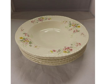 Set of 5 Vintage Homer Laughlin 45 Soup Bowls Shabby Cottage Floral & White