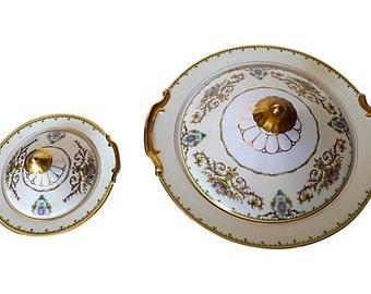 """SALE! Org 95.00 Vintage Set of 2 Noritake Covered Bowls  Maker's mark reads """"M/Japan."""""""
