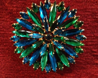 SALE Eye Catching Large Brilliant Green and Blue Marquise Stone Brooch