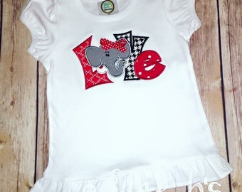 Girly Alabama Football Shirt - Elephant Love