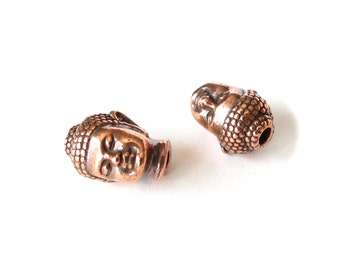 2x buddha beads, antique copper finish, TierraCast beads for stretch bracelets, jewelry supplies UK