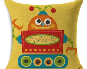 Robot on Yellow - Pillow Cover