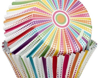 Dotted Line Striped ColorCups Wilton Greaseproof Cupcake Liners Baking Cups Muffin Cups - Colorful Cupcake Liners