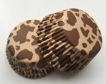 50 pcs Brown Cow Cupcake Liners Baking Cups Muffin Tools Supply Kitchen Tan