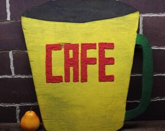 Large Bistro Cafe Diner Wood Sign - Coffee Cup Diner Sign