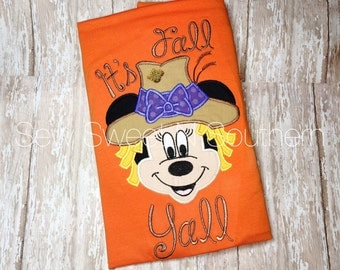 Scarecrow minnie embroidered shirt, It's fall yall appliqued scarecrow shirt, Disney fall shirt, Thanksgiving Minnie or Mickey Mouse shirt.