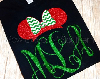 Monogrammed Minnie Shirt. Monogramed mouse ears. Christmas Disney shirt, glitter.