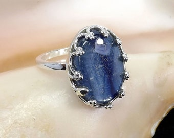 Kynite Gemstone Ring, Kynite Ring, Kynite Designer Ring, Unique Ring, Handmade Ring, Kynite Jewellery, 925 Sterling Silver, Silver Ring,