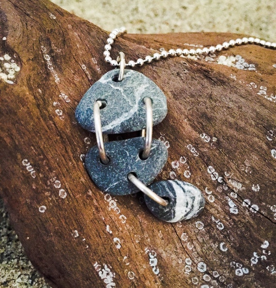 genuine santa cruz sea stone grey and white striped stone  pendant on sterling silver chain