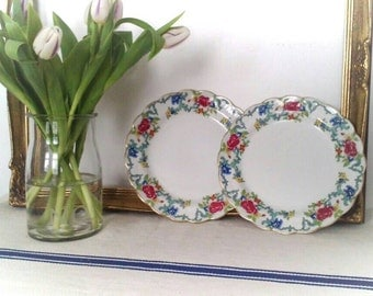 Pair, Vintage, Booths 'Floradora' Side Plates.