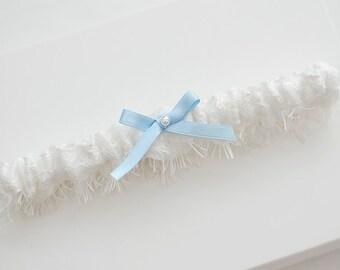 Wedding garter, bridal garter, ivory garter, chantilly lace garter with light blue bow, something blue garter, toss garter, garter belt